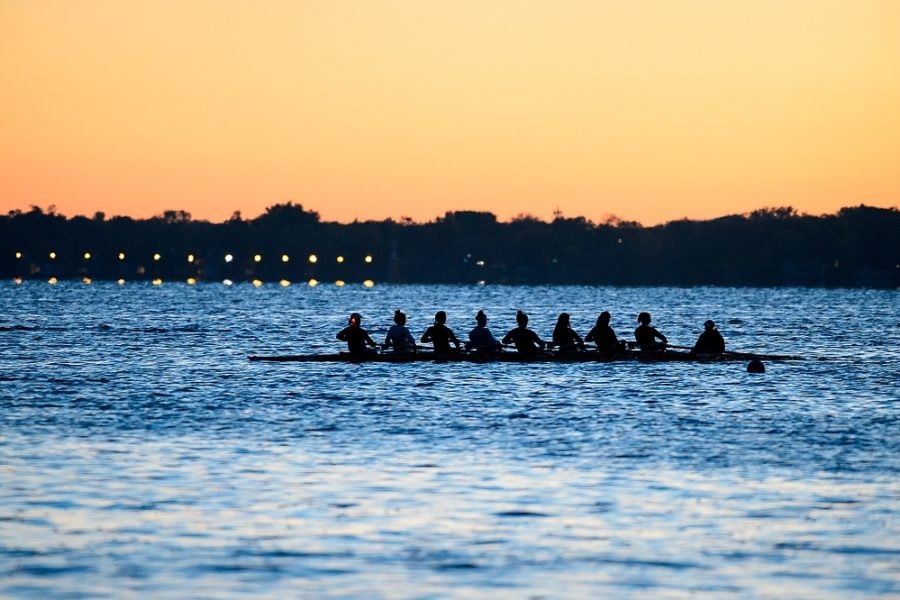 Image of female student rowers