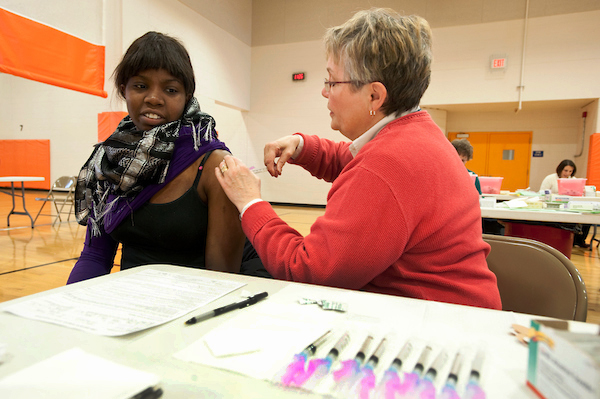 Image of student receiving flu shot