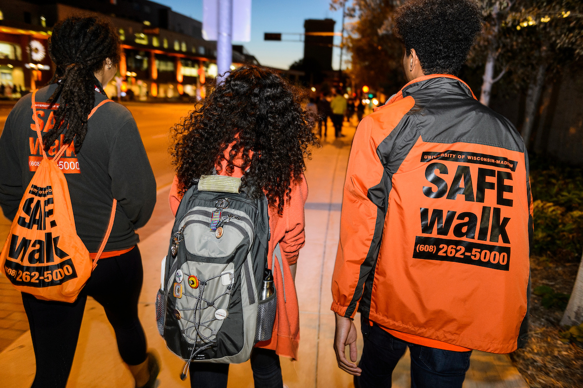 Image of Safewalk escorts with student